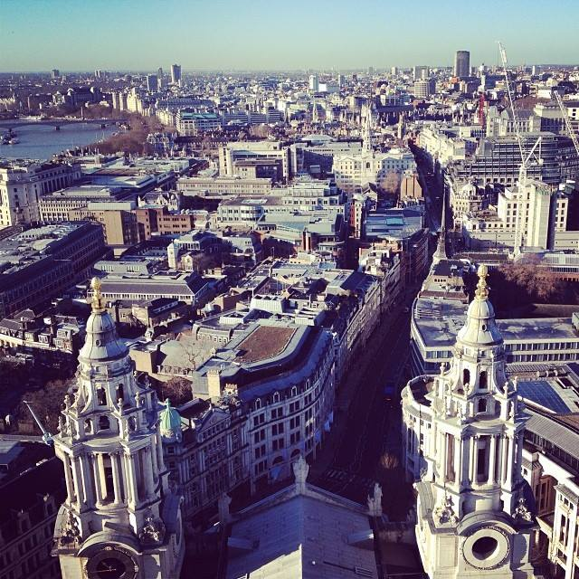 Overlooking London from the very top of St. Paul's Cathedral. My mother had warned me that it would be a lot of stairs...and it was A. LOT. OF. STAIRS. It was quite a work out. But the view was more than worth it. SO worth it.
