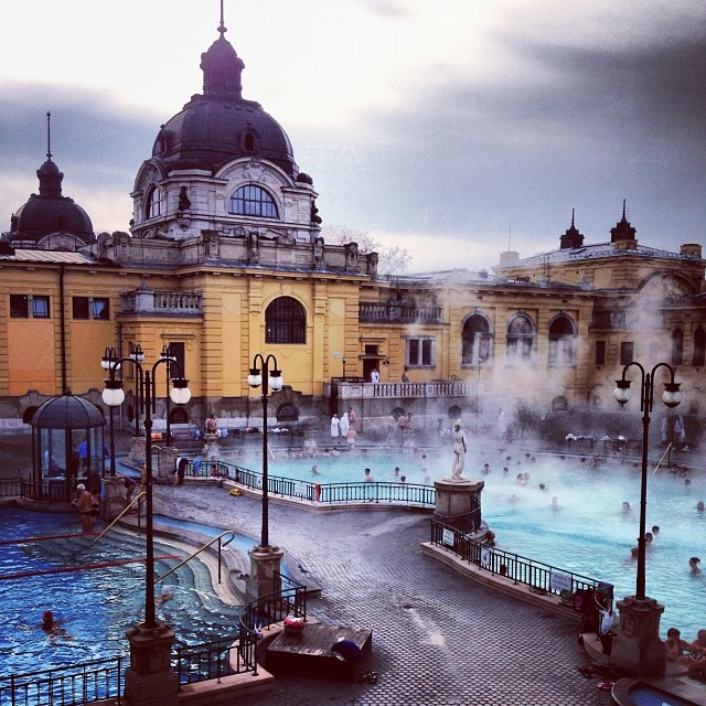 The Széchenyi Baths in Budapest. Absolutely beautiful. Open 365 days a week. I learned that some men come every day when the baths open and they sit in the water and play chess against one another for hours. You can see the smallest glimpse of those men in the bottom right hand corner of this picture.